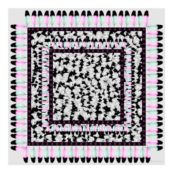 Vlněný šátek s kašmírem Plumiere Purple, 130x130 cm