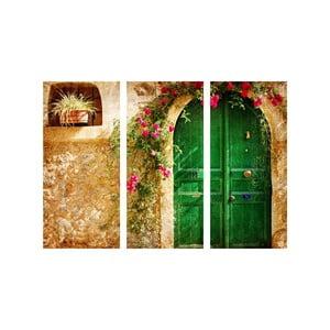3dílný obraz Zelené dveře