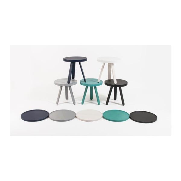 Bílý odkládací stolek z jasanového dřeva s podnosem Woodendot Batea S