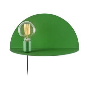 Zelená nástěnná lampa s poličkou Shelfie, výška 20 cm