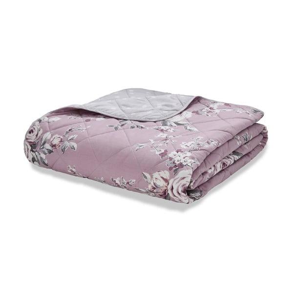 Růžovo-šedý prošívaný přehoz přes postel Catherine Lansfield Canterbury, 220x230cm