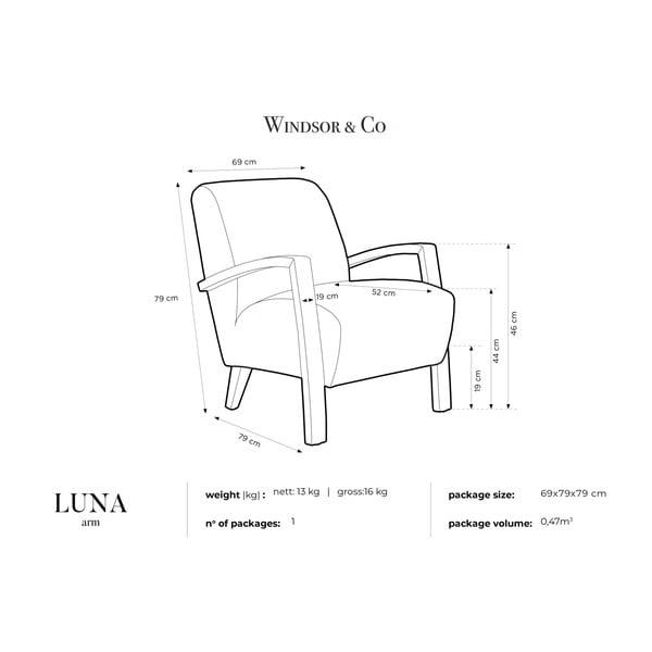 Tmavě modré křeslo s tmavými nohami Windsor & Co Sofas Luna