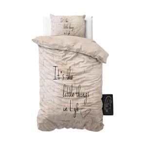 Béžové povlečení z mikroperkálu Sleeptime Little Things, 140 x 220 cm