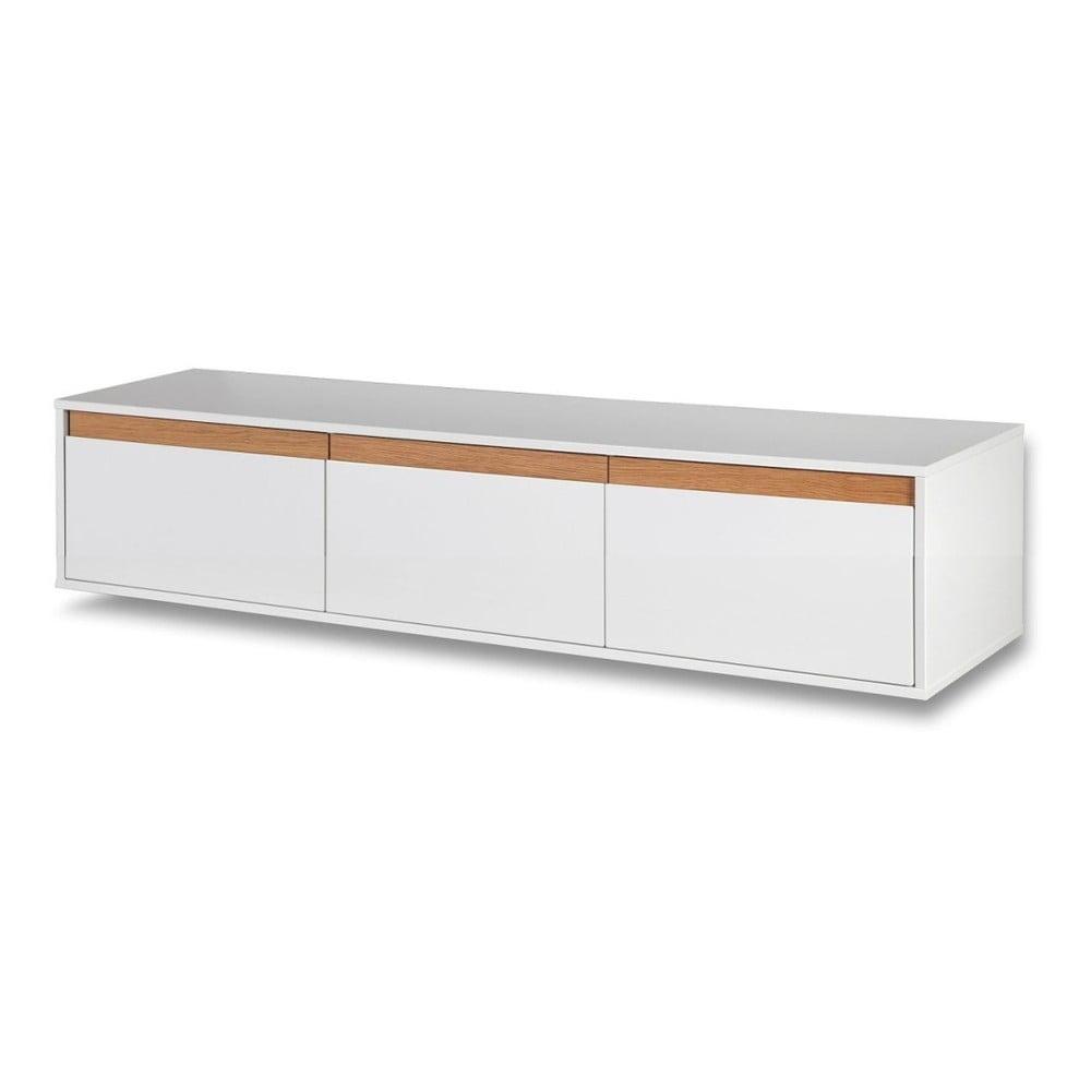 Bílá nástěnná TV komoda s dřevěnými detaily Dřevotvar Ontur 02