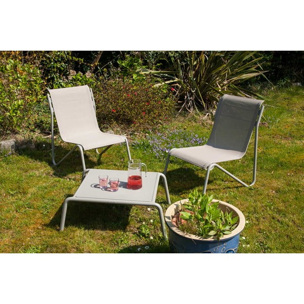 Zestaw 2 krzeseł ogrodowych i stolika z aluminiową konstrukcją Ezeis Montana