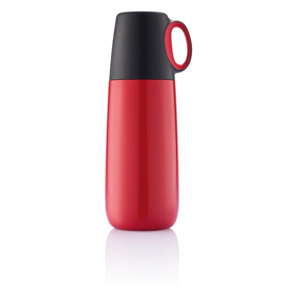 Červená termoska s hrníčkem XD Design Bopp Hot, 600 ml