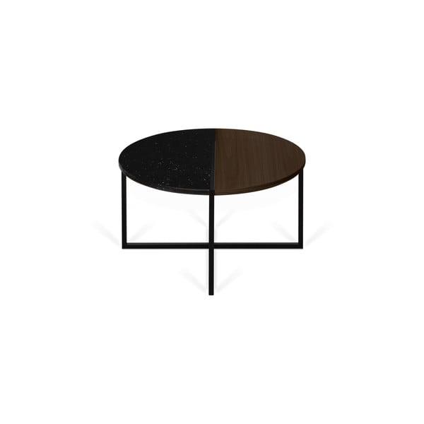 Stolik z blatem z drewna orzecha i marmuru TemaHome Sonata, ø 80 cm