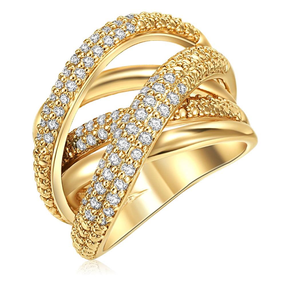 Dámský prsten zlaté barvy Tassioni Barbara, 56