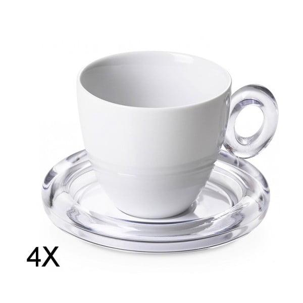 Sada 4ks šálků na čaj, bílá
