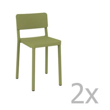 Set 2 scaune bar adecvate pentru exterior Resol Lisboa, înălțime 72,9 cm, verde