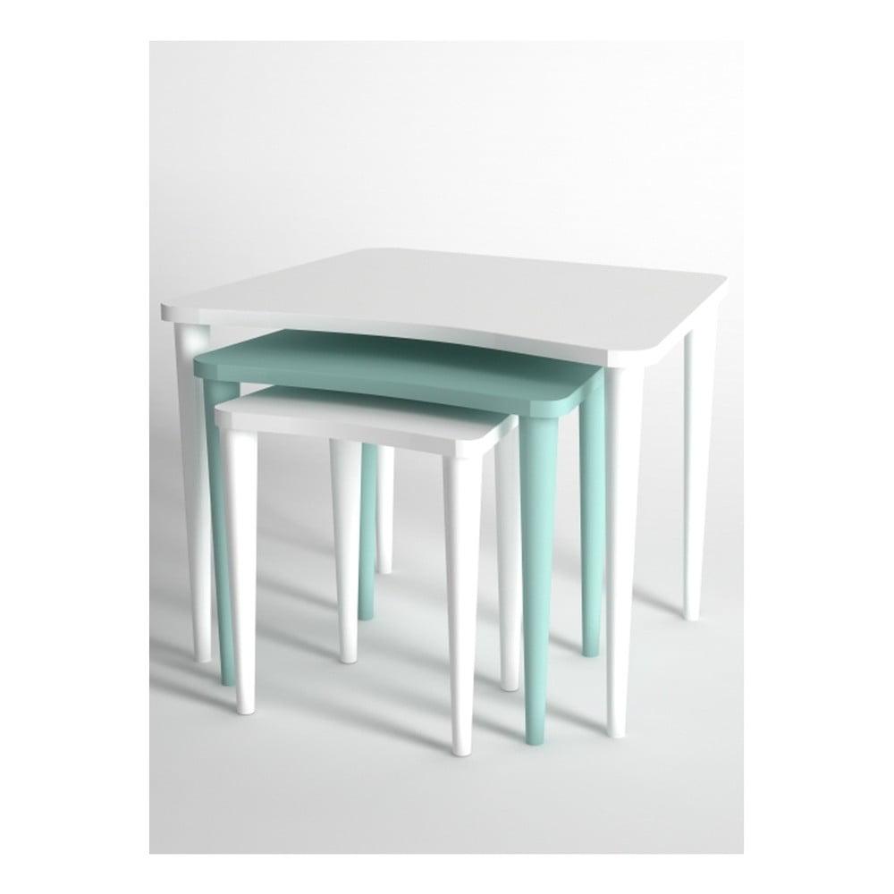 Sada 3 konferenčních stolků v bílé a modré barvě Monte Nero