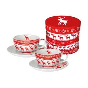 Sada 2 hrnků na cappuccino z kostního porcelánu s vánočním motivem v dárkovém balení PPD Magic Rojo Christmas, 200 ml