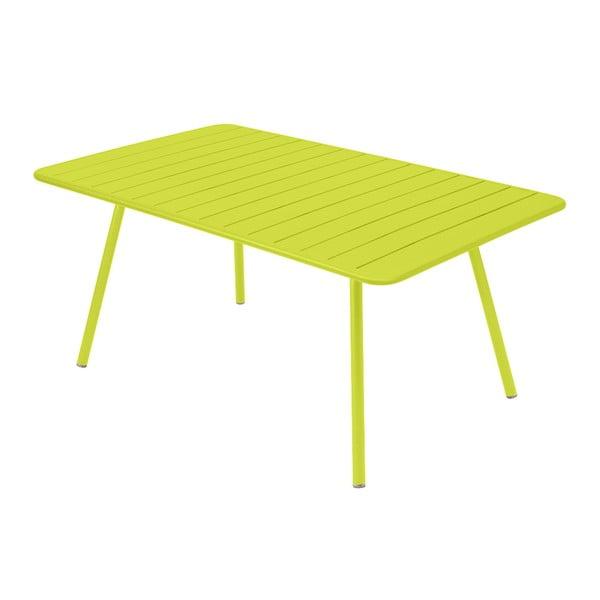 Limetkově zelený kovový jídelní stůl Fermob Luxembourg