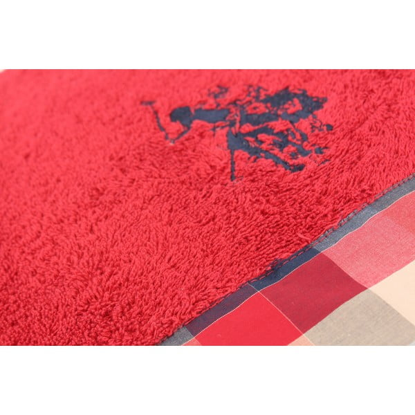 Osuška US Polo Bath Red Check, 75x150 cm