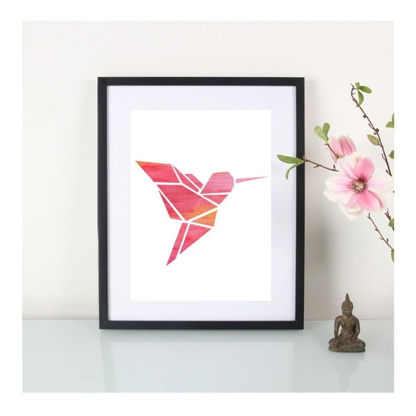Plakát Origami Kolibri Pink, A3