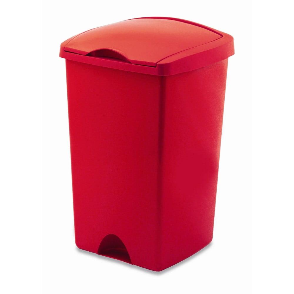 Červený odpadkový koš s víkem Addis Lift, 50 l
