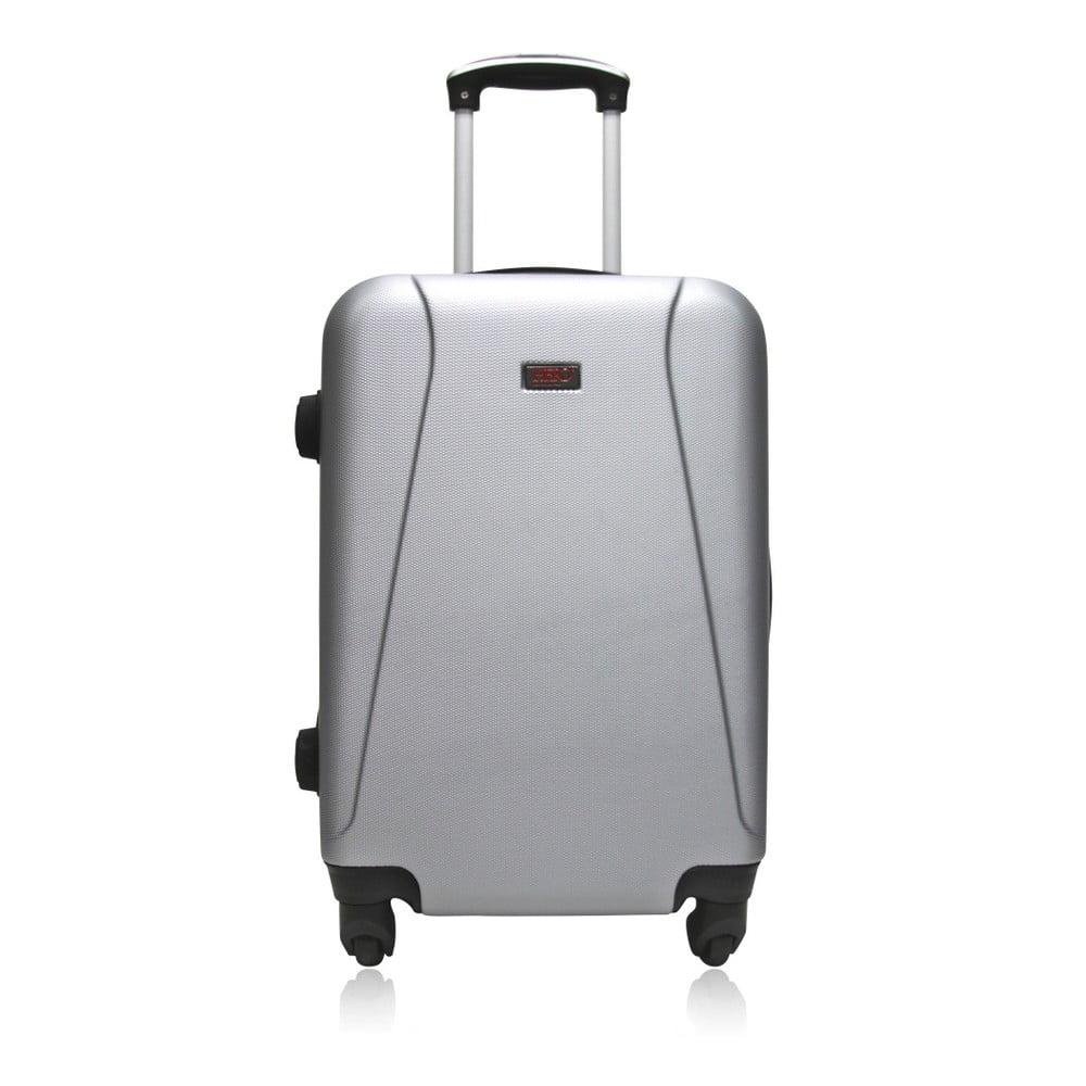 Cestovní kufr na kolečkách stříbrné barvy Hero Tour, 91 l