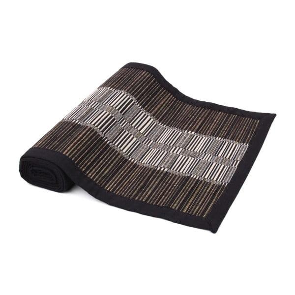 Čierny behúň na stôl zo slamy a bavlny Ladelle Akita, 33 x 150 cm