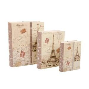 Sada 3 úložných krabic Paris Book
