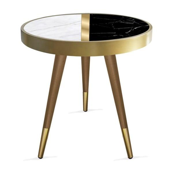 Príručný stolík Rassino Marble Black And White Circle, ⌀ 45 cm