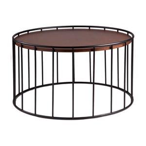 Černý odkládací stolek s deskou v dekoru ořechového dřeva sømcasa Lucas