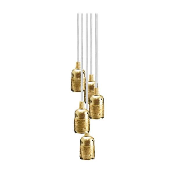 Závěsné svítidlo s 5 bílými kabely a zlatou objímkou Bulb Attack Uno Group