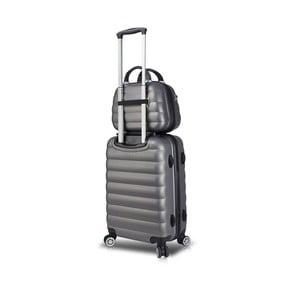 Sada šedého cestovního kufru na kolečkách s USB portem a příručního kufříku My Valice RESSNO MU & Cabin