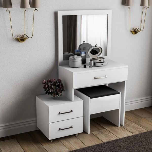 Bílý dřevěný toaletní stolek Alacati