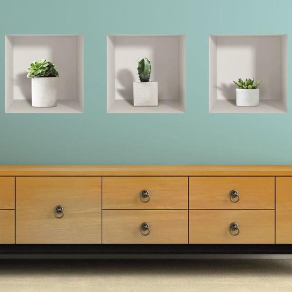 Set 3 autocolante 3D pentru perete Ambiance Cactus