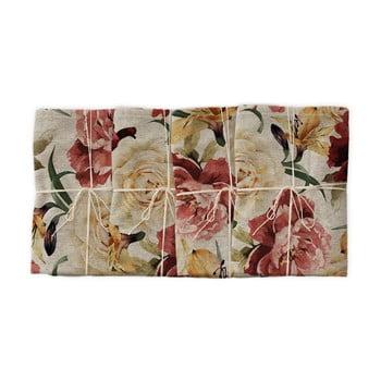 Set 4 șervețele textile Linen Couture Roses, lățime 40 cm imagine