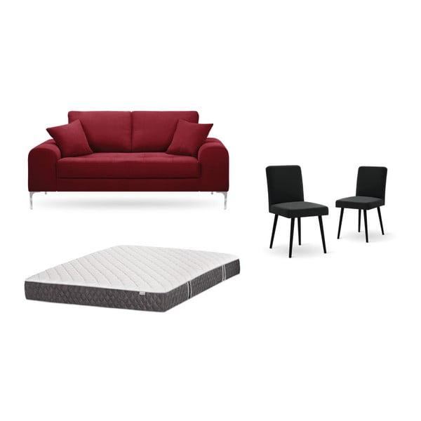 Set canapea roșie, 2 scaune negre o saltea 140 x 200 cm Home Essentials
