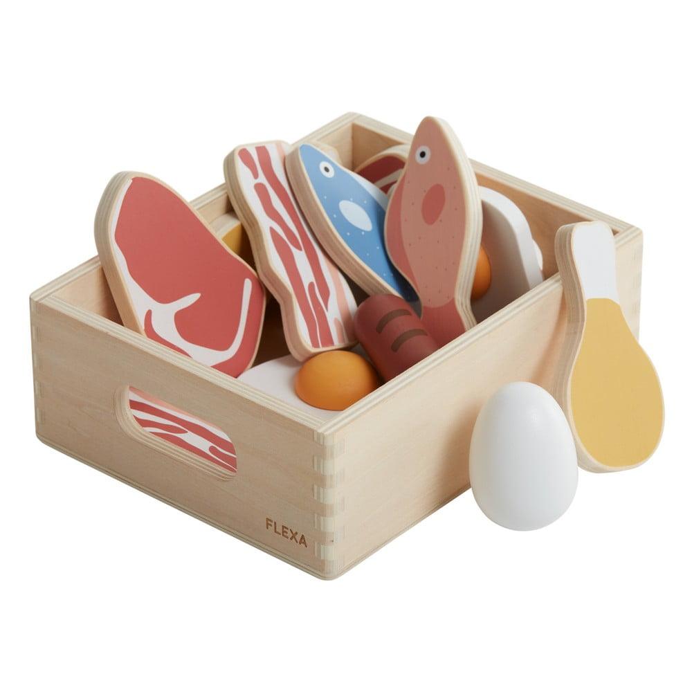 Dřevěný dětský hrací set Flexa Play Fish & meat