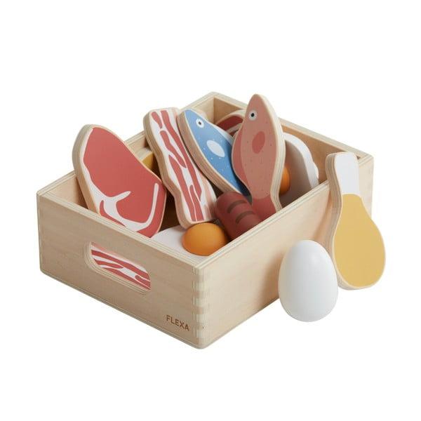 Klocki drewniane do zabawy/ryby i mięso Flexa Toys Fish & meat