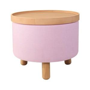 Růžová stolička s detaily z bukového dřeva a odnímatelnou deskou Garageeight Molde, ⌀50cm