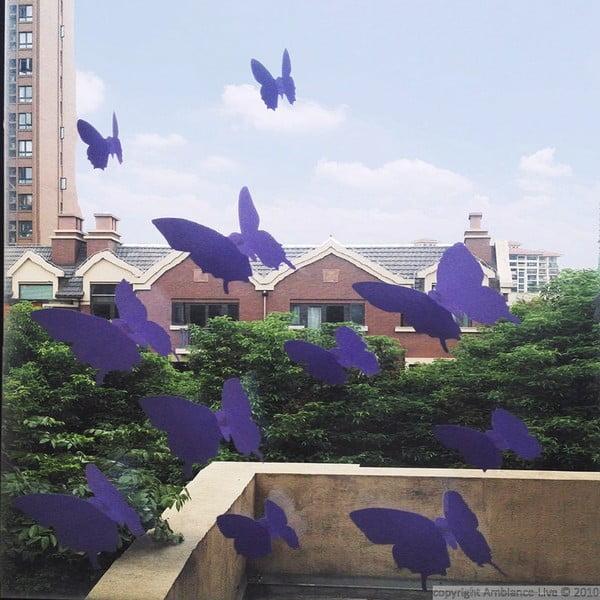 Sada 12 fialových samolepek Ambiance Butterflies