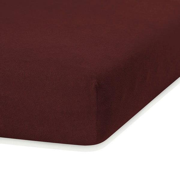 Tmavě hnědé elastické prostěradlo s vysokým podílem bavlny AmeliaHome Ruby, 200 x 160-180 cm