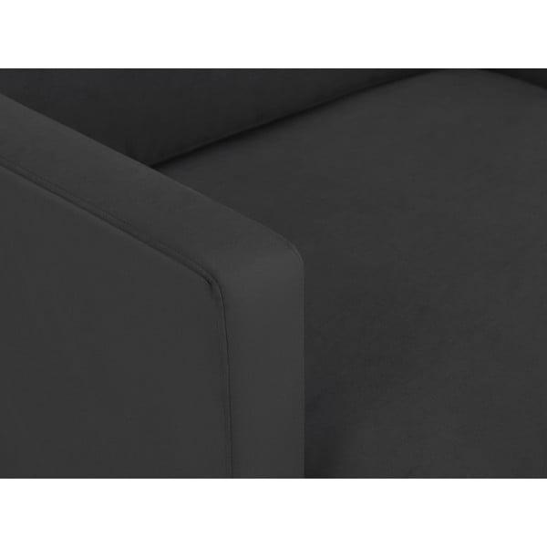 Tmavě šedé křeslo s podnožím v černé barvě Windsor & Co Sofas Jupiter
