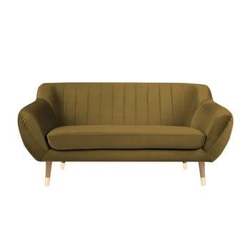 Canapea cu tapițerie din catifea Mazzini Sofas Benito, auriu, 158 cm imagine