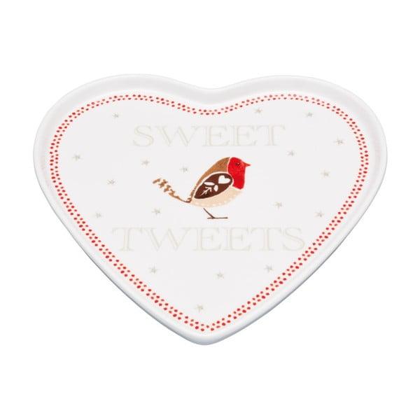 Servírovací talíř ve tvaru srdce Little Red Robin