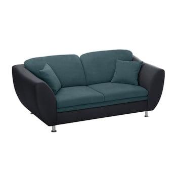 Canapea cu 3 locuri Florenzzi Maderna albastru - negru