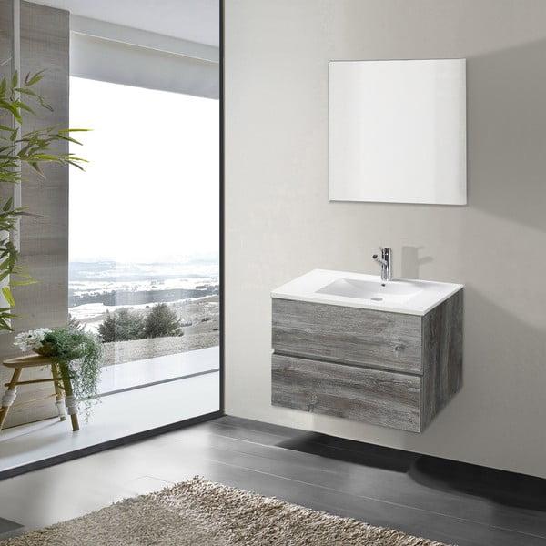 Koupelnová skříňka s umyvadlem a zrcadlem Flopy, vintage dekor, 70 cm
