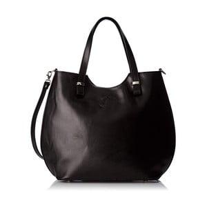 Černá kožená kabelka Chicca Borse Denisse