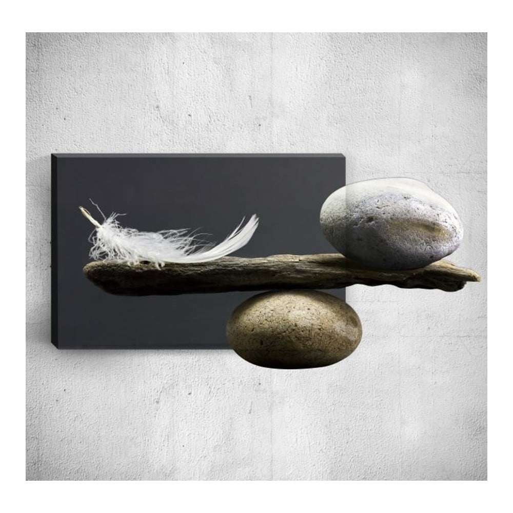 Nástěnný 3D obraz Mosticx Feather With Pebbles 40 x 60 cm