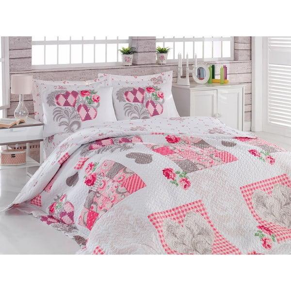 Sada přehozu přes postel a dvou povlaků na polštář Four, 220x230 cm