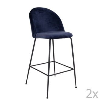 Set 2 scaune bar tapițate House Nordic Lausanne, albastru-negru de la House Nordic