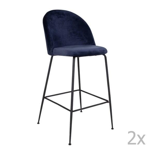 Sada 2 modrých barových židlí se sametovým potahem s nohami černé barvy House Nordic Lausanne
