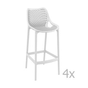 Sada 4 bílých barových židlí Resol Grid Simple, výška 75 cm