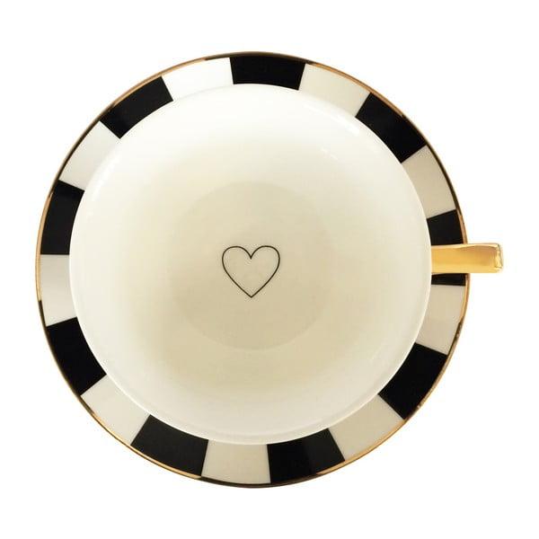 Ceașcă cu farfurioară Bombay Duck Stripy, negru - alb