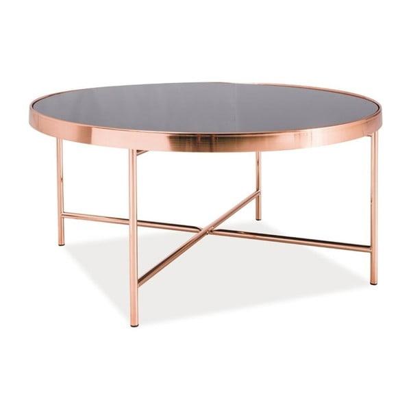 Konferenční stolek se skleněnou deskou a kovovou konstrukcí v barvě mědi Signal Gina, ⌀82cm
