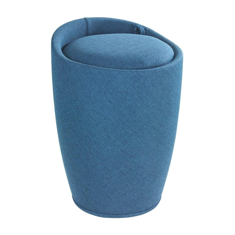 Modrý koš na prádlo a taburetka v jednom Wenko Linen Look, 20 l